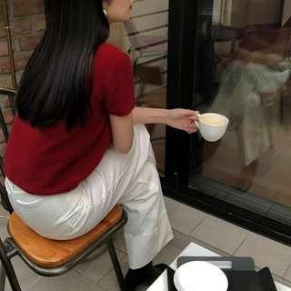 Cashmere 短袖針織衫-紅-F