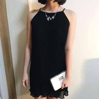 Pleated Halter Black Shift Dress
