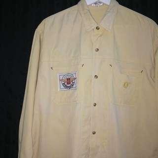 Powear✼淺黃工裝襯衫✼ 褪染色 | 純棉 卡其裸 美式貼布 車線口袋 中性寬鬆直筒 日本古着Vintage