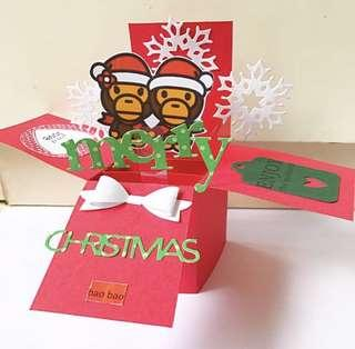 Merry Christmas handmade Pop Up Card ape