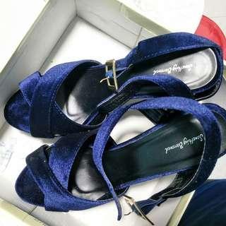 Velvet platform block heels