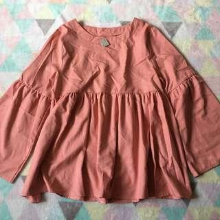 CALACARA Salmon Pleated Blouse
