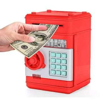 Electronic ATM Password Piggy Bank Cash Coin Auto Scroll Paper Money Saving Box Gift For Kids