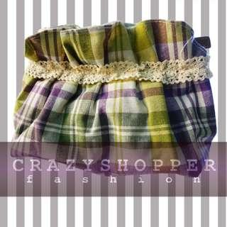 100%NEW黃綠色格仔零錢包或化妝包  Yellow+Green Plaid Coin Purse / Cosmetic Pouch