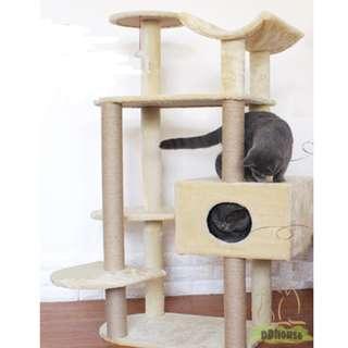[Flash Deal ] Medium Size Cat Tree / Cat Condo / Cat Scratching Post / Cat House in Cream Color
