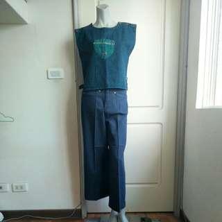 🚚 【onsale】80.90年代藍色高腰丹寧寬褲.牛仔褲-L
