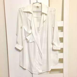 🚚 【衣服】厚雪紡襯衫/白色
