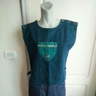 🚚 【onsale】80.90年底藍色牛仔丹寧造型背心