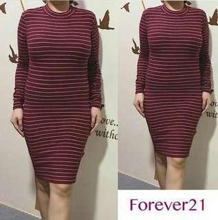 Forever 21 Maroon Stripe Dress