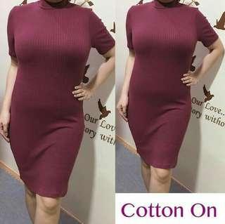 Cotton On Maroon Turtle Neck Dress
