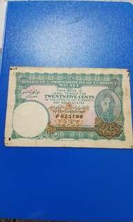 25 cent malaya note.money