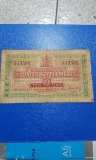 Singapore 1919 old note money