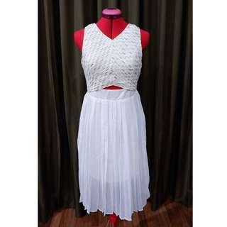 Pleated poly chiffon white dress