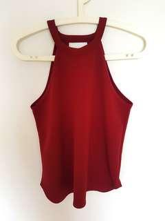 Boohoo High Neck Burgundy Top