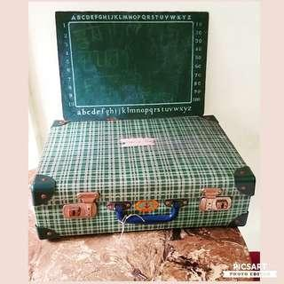 """Very Cute 1960-70s Green Checkered Primary School Bag, Blackboard, Text Books and Stationeries. School Bag dimension. 16"""" x 10"""" x 5"""". Everything in Beautiful condition. $10-78, refer detail below offer, sms 96337309."""