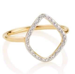 Authentic Monica Vinader Riva Diamond Hoop Ring