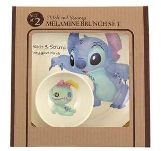 史迪仔 stitch and 小甘 甘仔 bowl and plate set