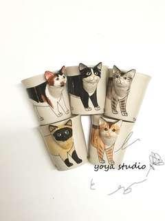 泰國手繪3D立體動物系列賓士貓.虎斑貓.三花貓.暹羅貓.貓咪馬克杯咖啡杯