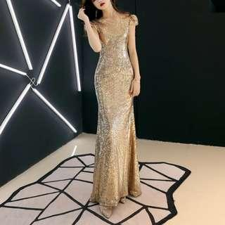 Elegant gold sequin black drop dress / evening gown