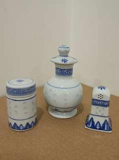 景德鎮青花米通鼓油瓶 牙簽筒 胡椒粉瓶 瓷器