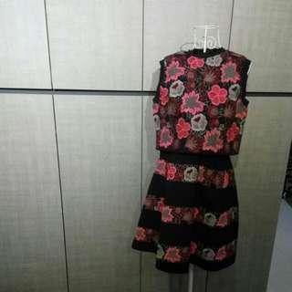 Designer embroidery 2 pieces top dress set