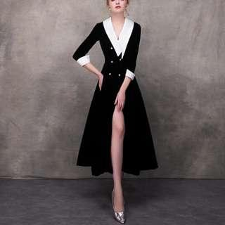 Blacl white dual tone elegant mid length slit dress / evening gown