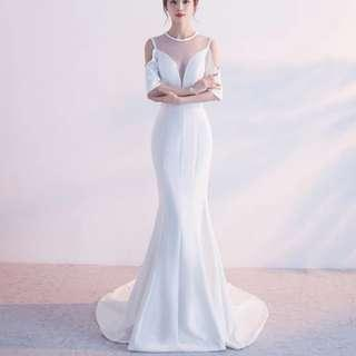 Cold shoulder white mermaid dress / Evening Gown / wedding gown
