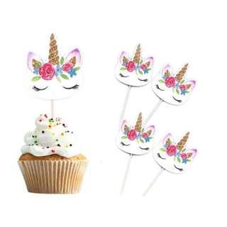 New 24pcs cupcake toppers unicorn decoration birthday cake unicorns