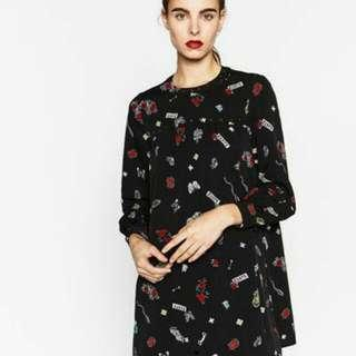 Zara quirky printed babydoll dress