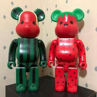 Bearbrick 400% Clot Fruit 水果 生果 西瓜 草莓 Bear Be@rbrick Toy Figure Art Trendy Brand Design Rabbrick R@bbrick Nyabrick Ny@brick 模型 擺設 收藏品 名牌 潮流 玩具 禮物 生日禮物
