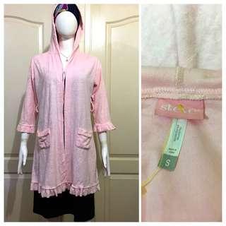 NC105 lemonade pink bathrobe with hood
