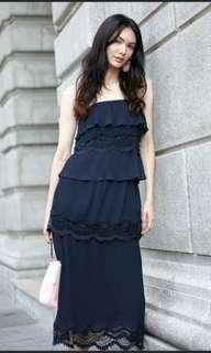 BNWT MDS pleated lace cami maxi dress in Navy