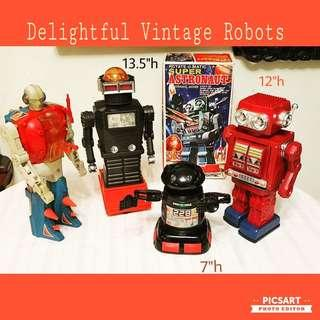 Rare Vintage Robots, $120-200 each, partially working or non-working. Not a cheap collection. View to buy, Whatsapp 96337309.