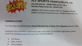 Cheapest Annual trampoline Membership Zoom Park SG
