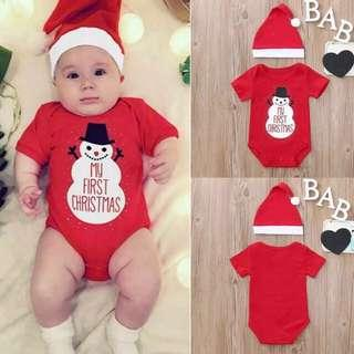 BN My First Xmas 2 pcs Christmas Baby Infant Rompers Romper Hat Set Red Snowman Santa Girl Boy Brand New