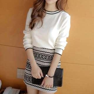 White Korean Knit Top crop blouse shirt simple plain sweater long sleeve black outline buttons