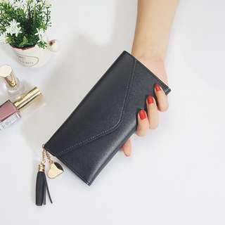Elegant Long Black Wallet with heart tassel