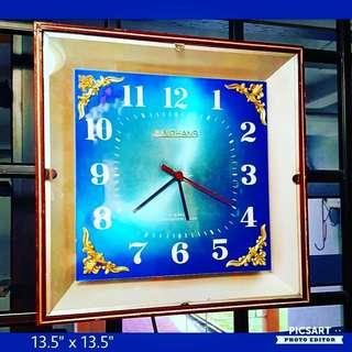 1970s Agogo-Era Vintage Wall Clock with Beautiful Gradient Turquoise-Blue Dial, Square. Working condition, battery-operated. $35 offer, Whatsapp 96337309