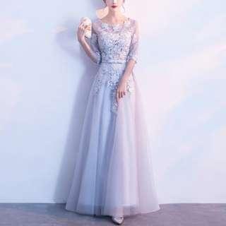 Grey lace elegant dress / evening Gown