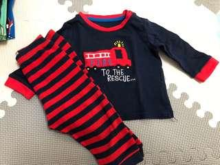 (6-9mos): Primark Longsleeves Pajama Set RED