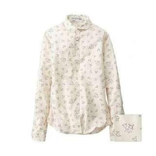 UNIQLO Ines De La Fressange Cotton Printed Long Sleeve Shirt
