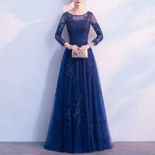 Navy elegant keyhole back dress / Evening Gown