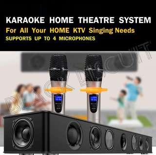 Karaoke KTV SoundBar System With Wireless Microphone Built In Amplifier Mixer Home Sound Bar