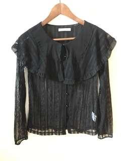 韓國Soul Deep黑色lace上衣 外套 2用 秋天裝 #消費不浪費
