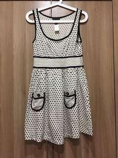 Mango black and white polka dot dress