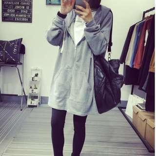 Grey Hooded Cardigan Sweater
