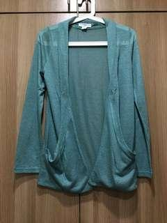 Cotton On long green cardigan with pockets