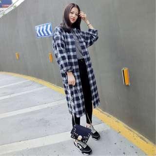 Knee Length Checkered Cardigan