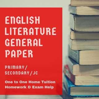English Tuition | English Home Tutor | Primary English | Secondary English Home Tuition | JC H1 Junior College General Paper GP Tuition Teacher | English Literature | History | English Comprehension | English Composition | Phonics Private Tutor | AEIS