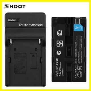 Shoot Battery and Charger set for Sony NP-F750 (Fully Decoded for Camcorders)